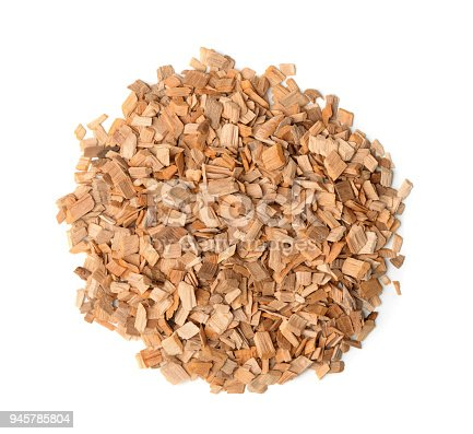 Top view of wood chips isolated on white