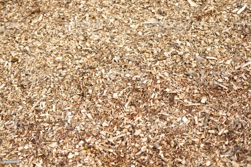Wood chips pile looking down view fuel renewable energy stock photo