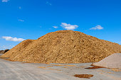 Wood Chips piles on a big storage site