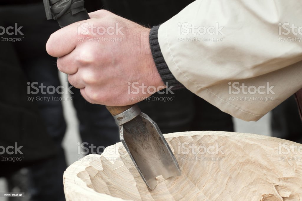 wood chisel stock photo