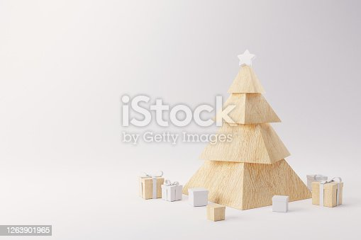 1136239089 istock photo Wood Christmas tree with presents on white background. Happy holidays. new year minimal concept, copy space. 3d render. 1263901965