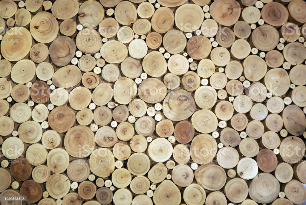 Wood circles pattern of cutted tree trunks. The round pieces are of...