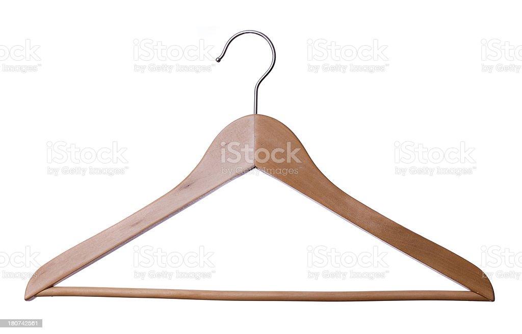 Wood Coat hanger on white background stock photo