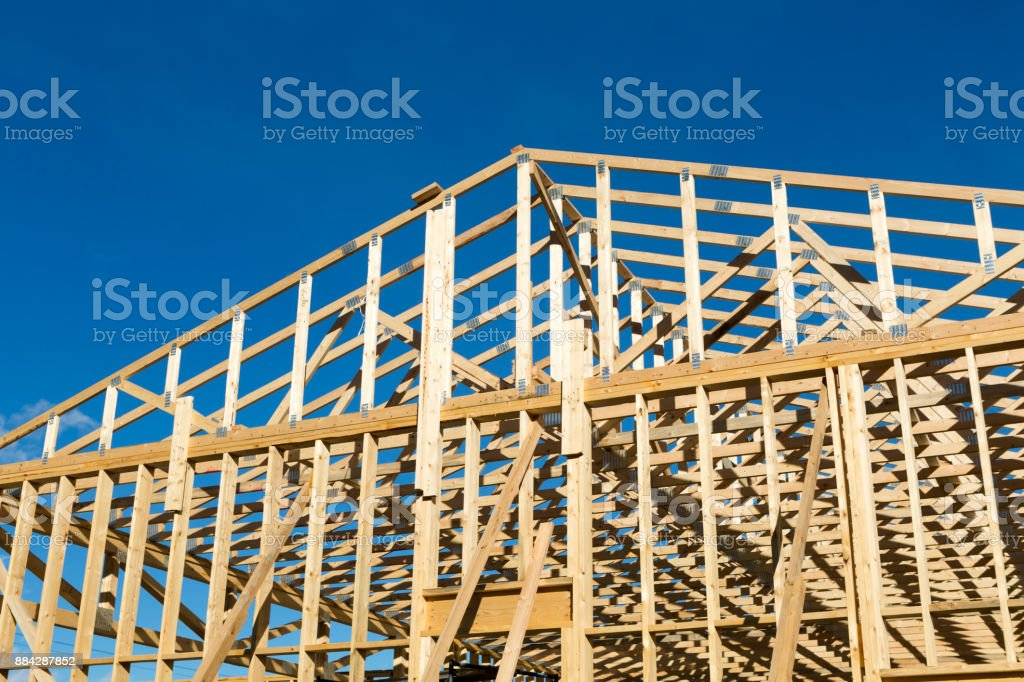 Wood Construction Frame Lumber Industry stock photo