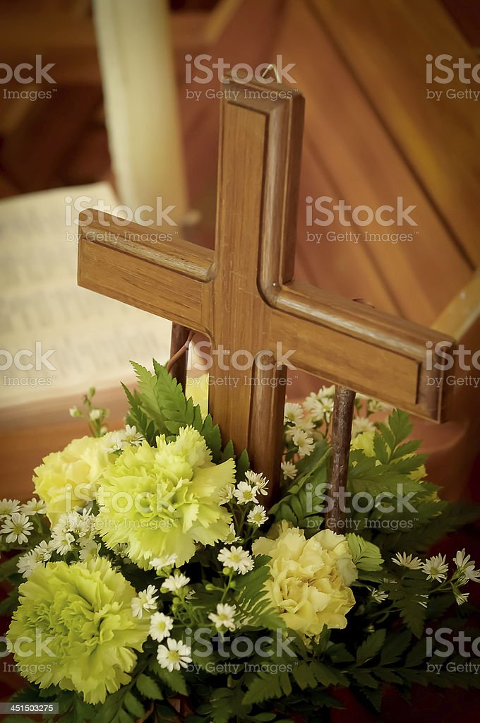 wood cross with green flower royalty-free stock photo