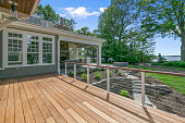 istock Wood deck of fabulous home on the shore's of a lake 1263002268