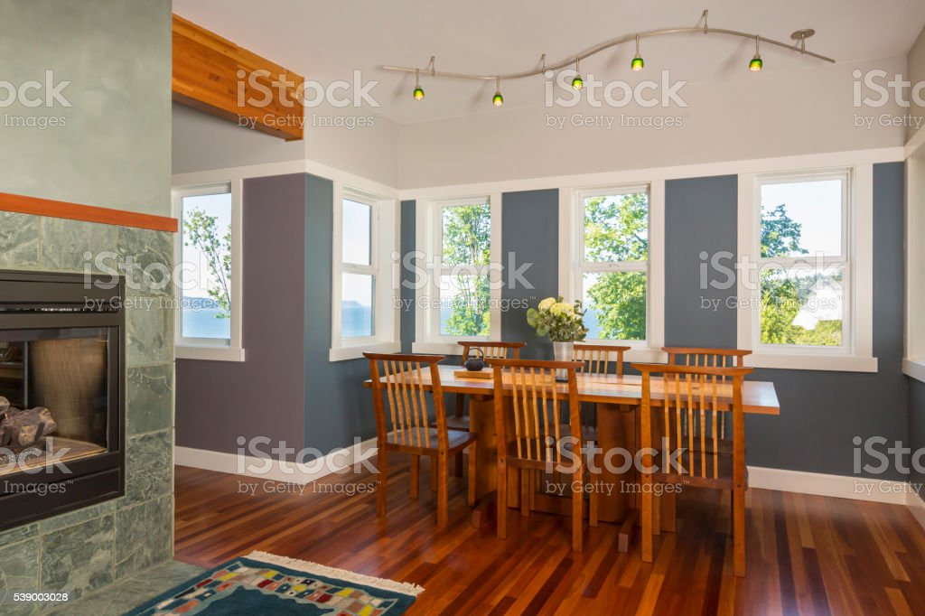 Genial Wood Dining Table And Chairs In Contemporary Upscale Home Interior  Royalty Free Stock Photo