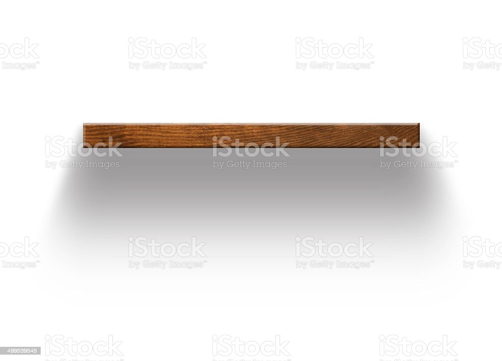 Wood display shelving on wall stock photo