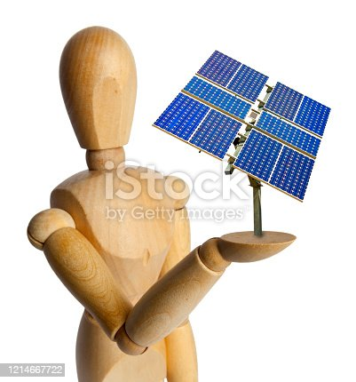 Wood Doll with a Solar Panel