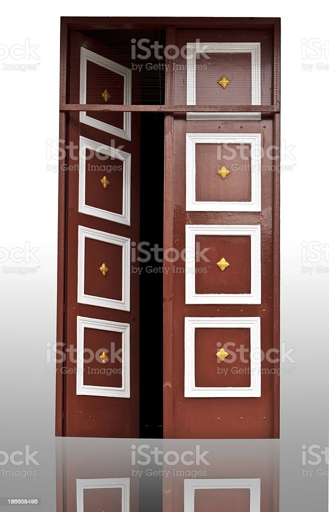 Wood door in a temple. royalty-free stock photo