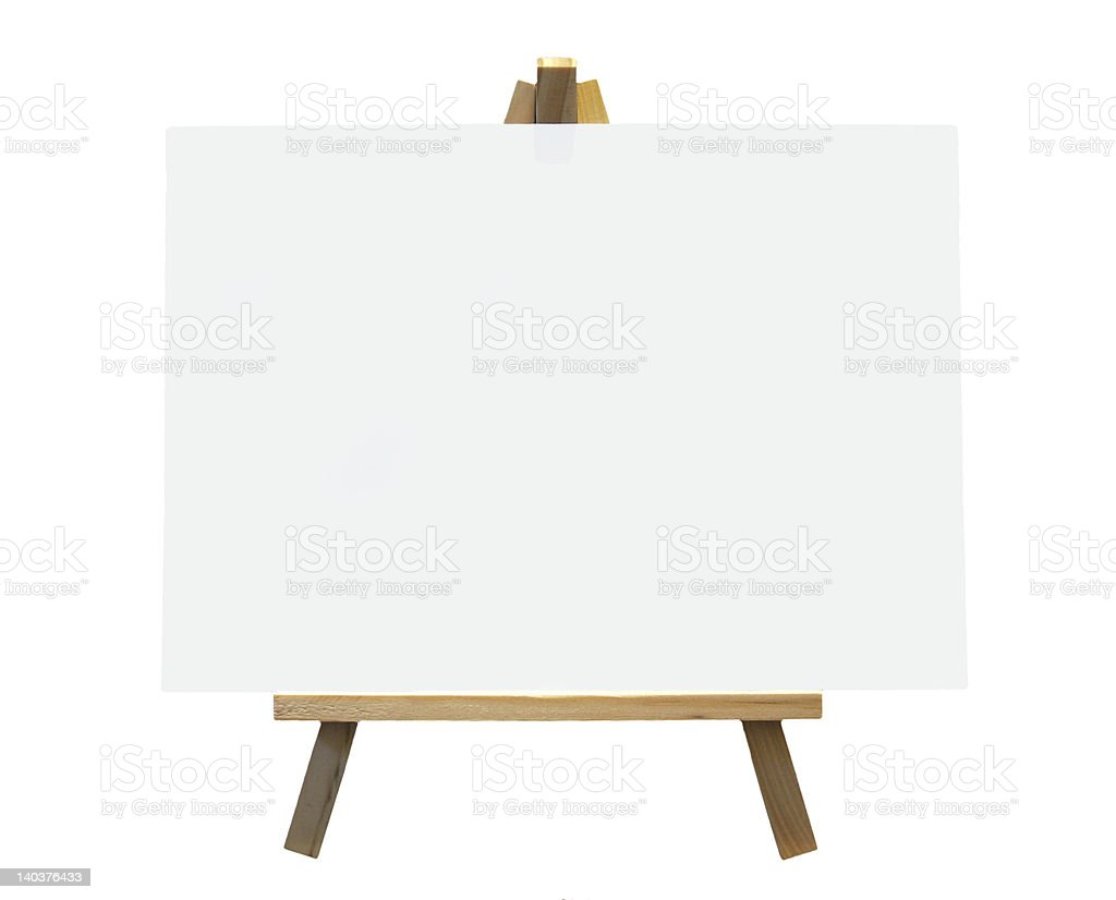 Wood Easel With White Canvas royalty-free stock photo