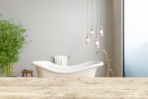 819534860 istock photo Wood Empty Surface And Bathroom As Background 1261825756