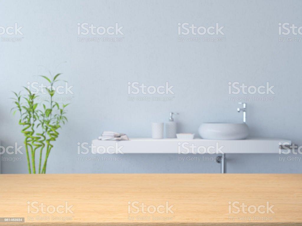 Leere Holzoberfläche und Bad als Hintergrund – Foto