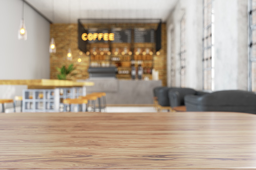 Wood Empty Surface And Coffee Shop As Background