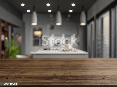 862429776 istock photo Wood Empty Surface And Kitchen as Background In The Evening 1205485088