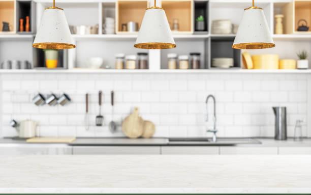 Holzleere Oberfläche und Küche als Hintergrund – Foto