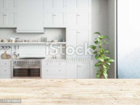 Wood empty surface and kitchen as background