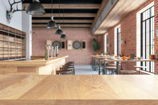 Wood Empty Surface And Kitchen as Background stock photo