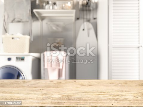 Wood empty surface and Laundry as background
