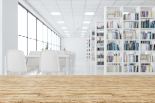 Wood Empty Surface And Library As Background
