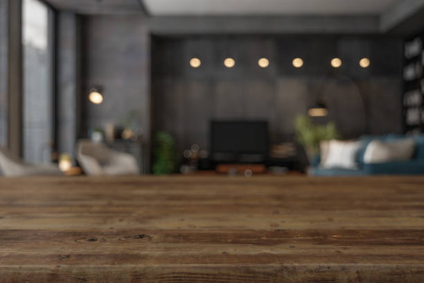 Wood Empty Surface and Living Room as Background  In The Evening Wood Empty Surface and Living Room as Background  In The Evening table stock pictures, royalty-free photos & images