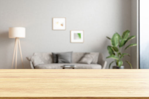Wood empty surface and Living room as background
