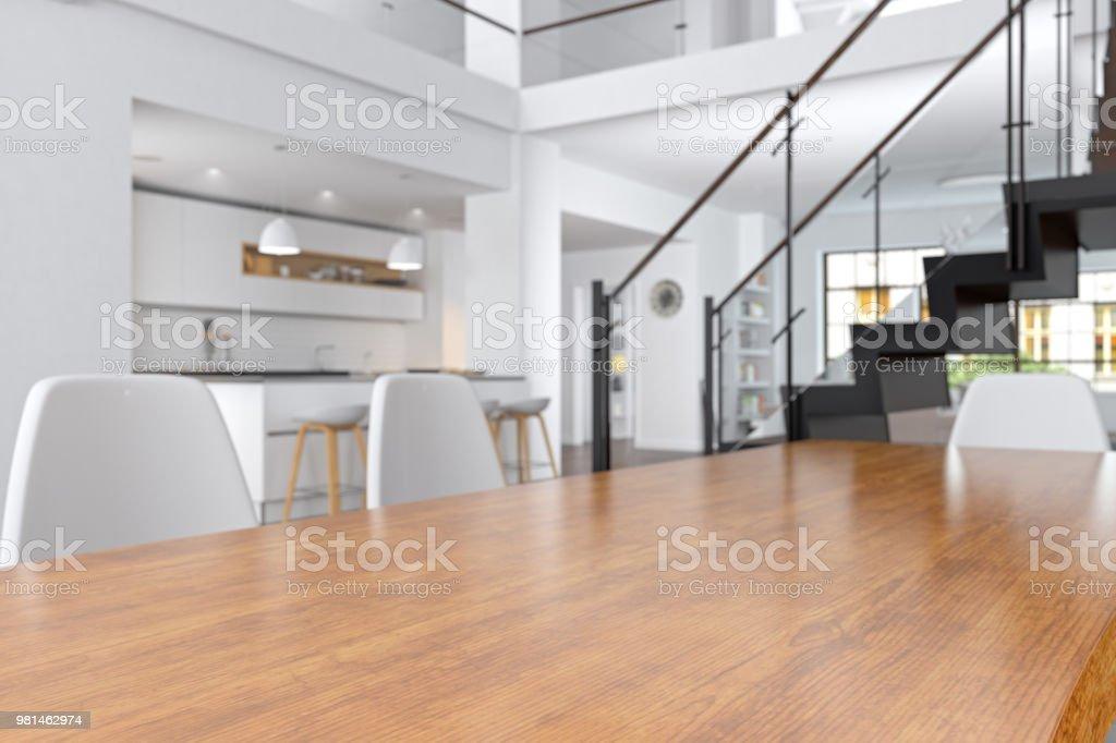 Leere Holzoberfläche und Wohnzimmer als Hintergrund – Foto