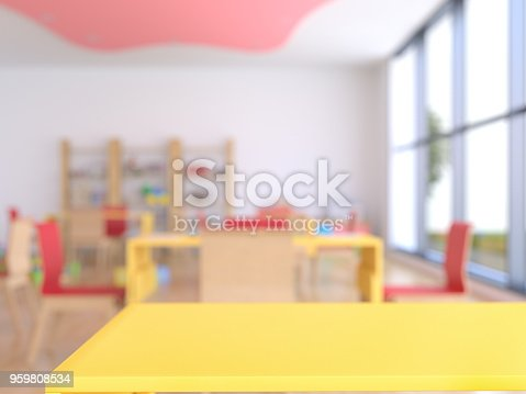 Wood empty surface and nursery as background