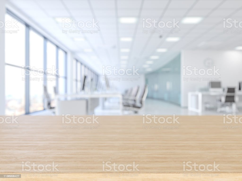 Wood empty surface and office building as background - Стоковые фото Абстрактный роялти-фри