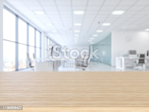 662984808 istock photo Wood empty surface and office building as background 1136958427