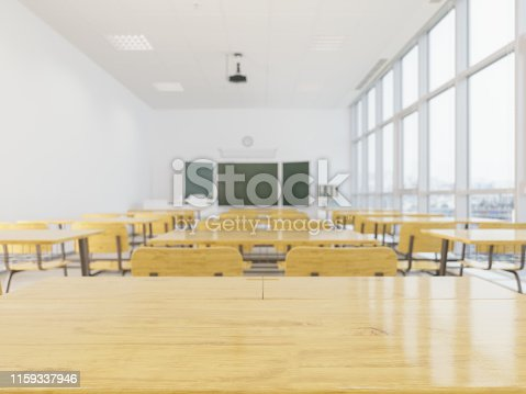 Wood empty surface and school classroom as background