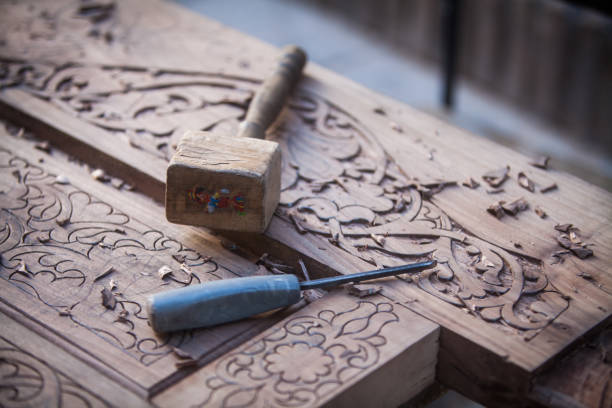 Wood engraving tools stock photo