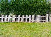 A wooden garden fence at backyard