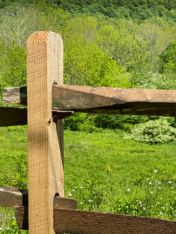 Light wooden wood fence post and fence rails, in front of grassy field, trees and wildflowers. Focus on foreground, fence rails and post.