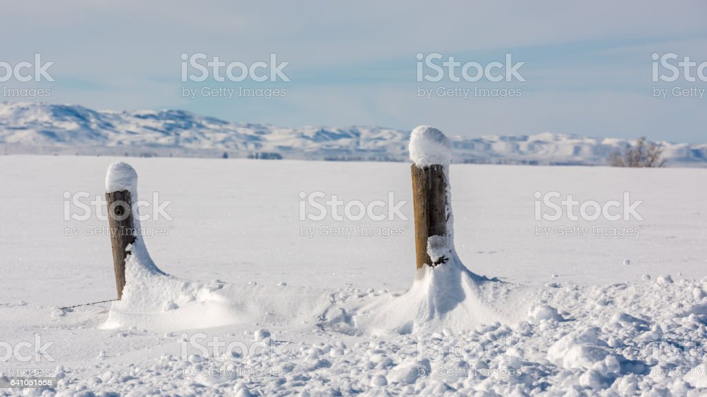 Wood fence posts almost burried in the snow stock photo