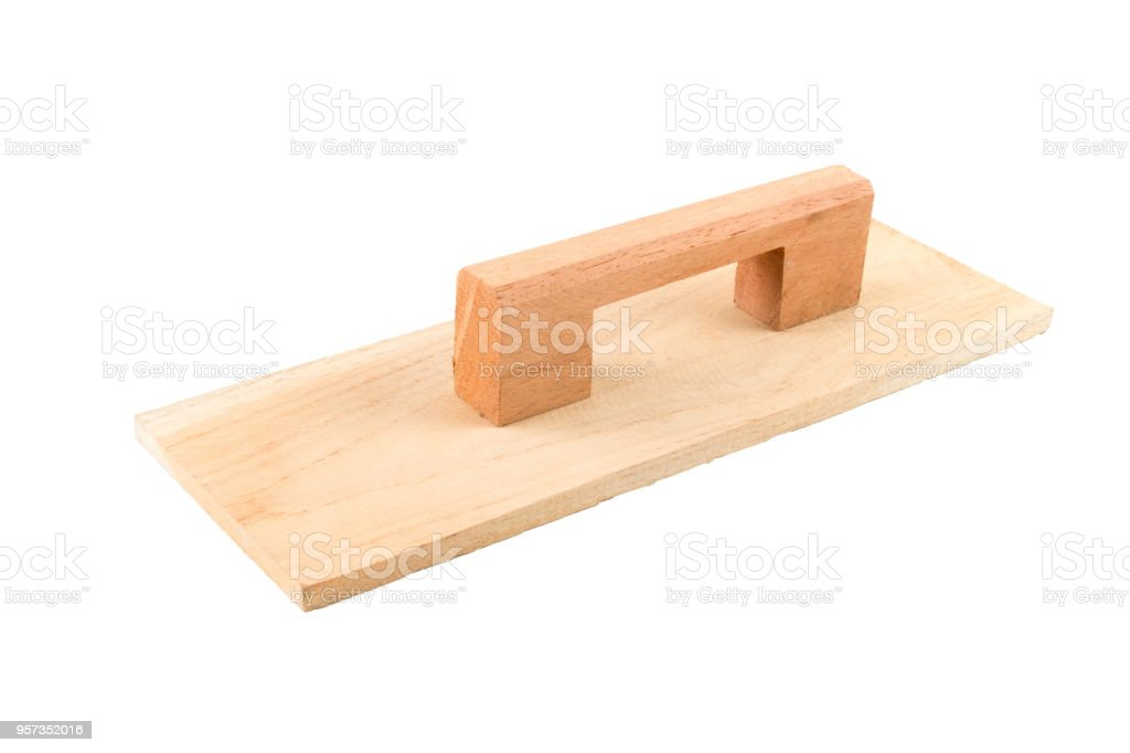 Wood Float Or Finishing Trowel For Concrete Work Stock Photo