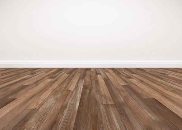 wood floor and white wall, empty room for background - prospettiva lineare foto e immagini stock