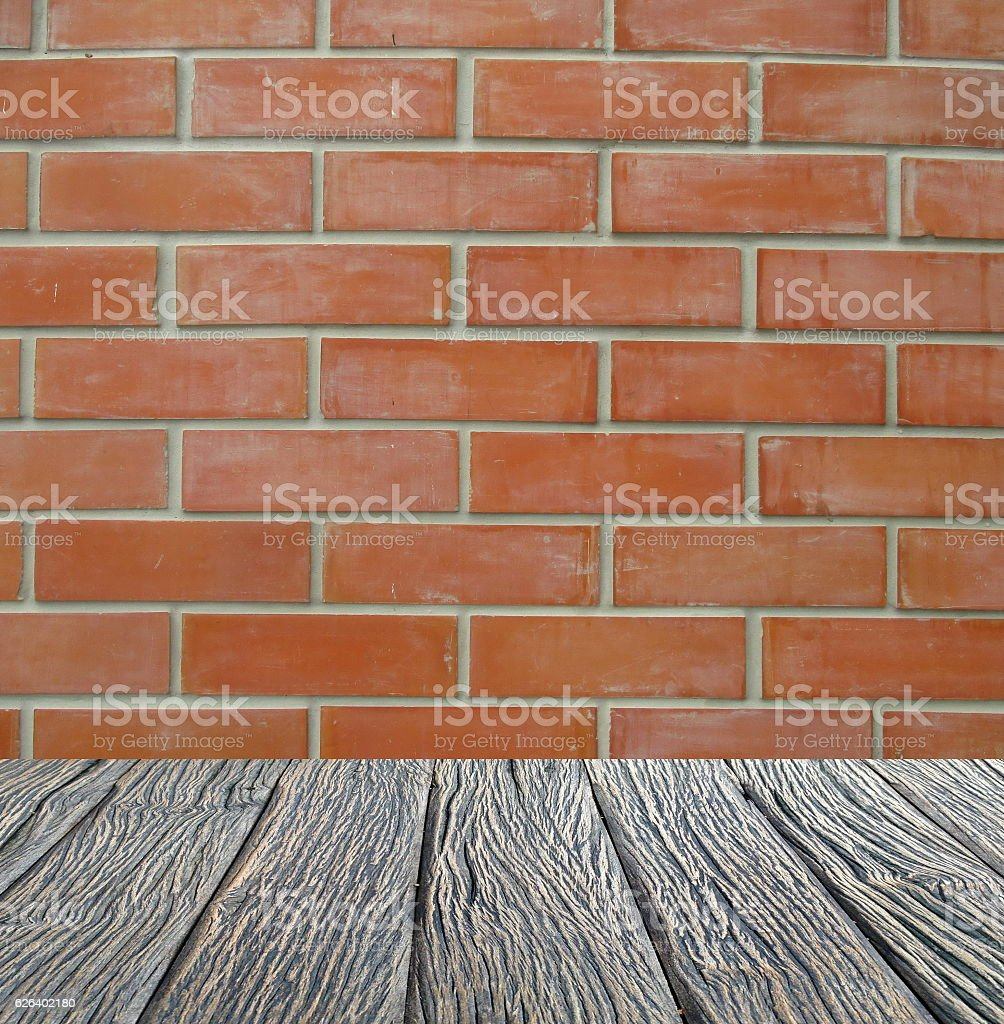 Empty interior for design, wood Floor brick wall. Empty room. Space...