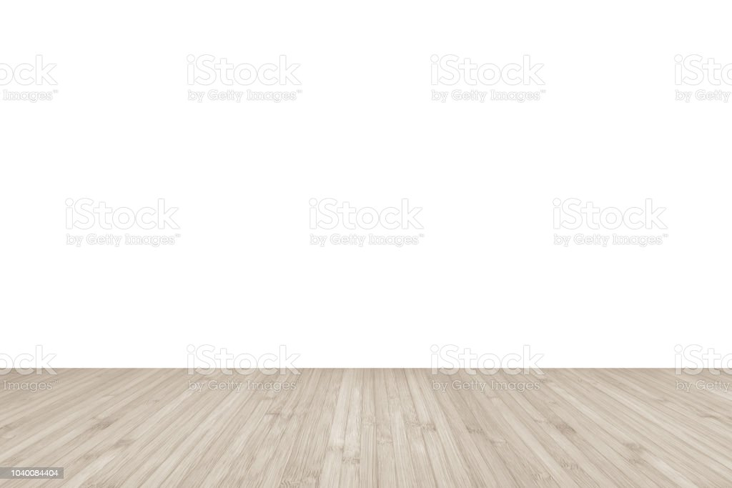 Wood Floor In Sepia Cream Color With White Wall Texture Background