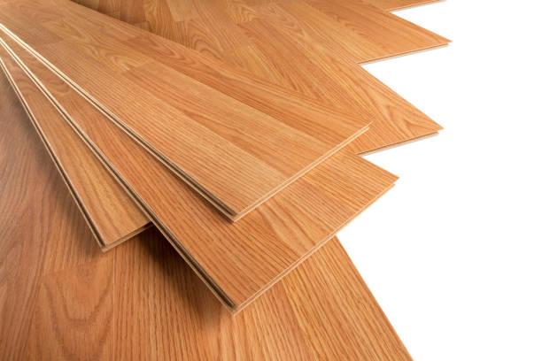 Wood floor installation stock photo