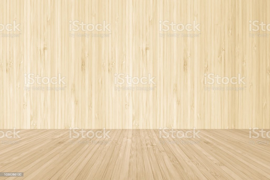 Wood Floor Texture On Natural Bamboo Wooden Wall Background In Yellow Cream Brown Royalty Free