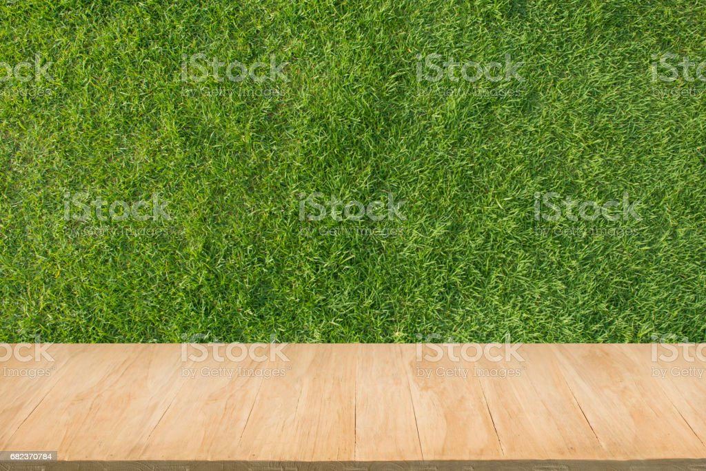 Wood floor with background of green grass royalty free stockfoto