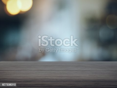 Wood floor with blurred cafe background