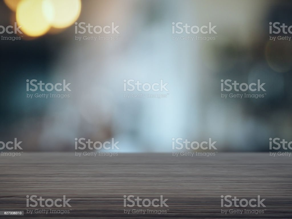 Wood floor with blurred cafe background stock photo
