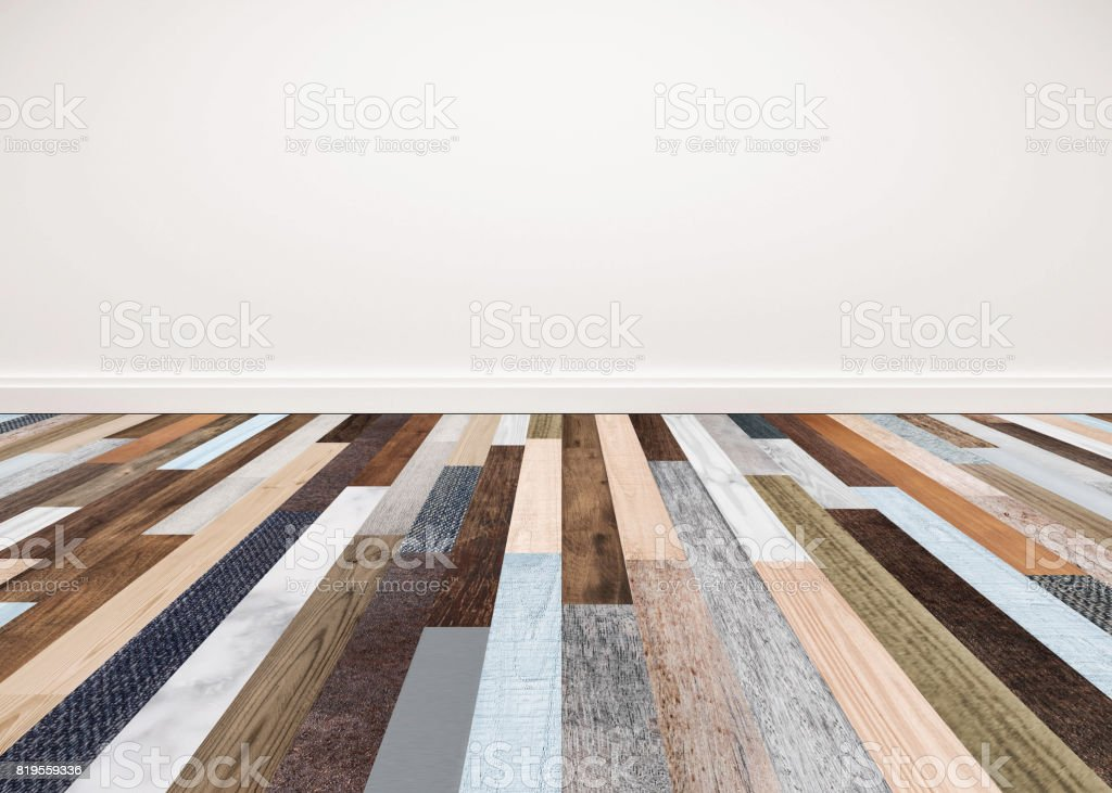 Wood floor with white wall, interior empty space for backgrounds royalty-free stock photo