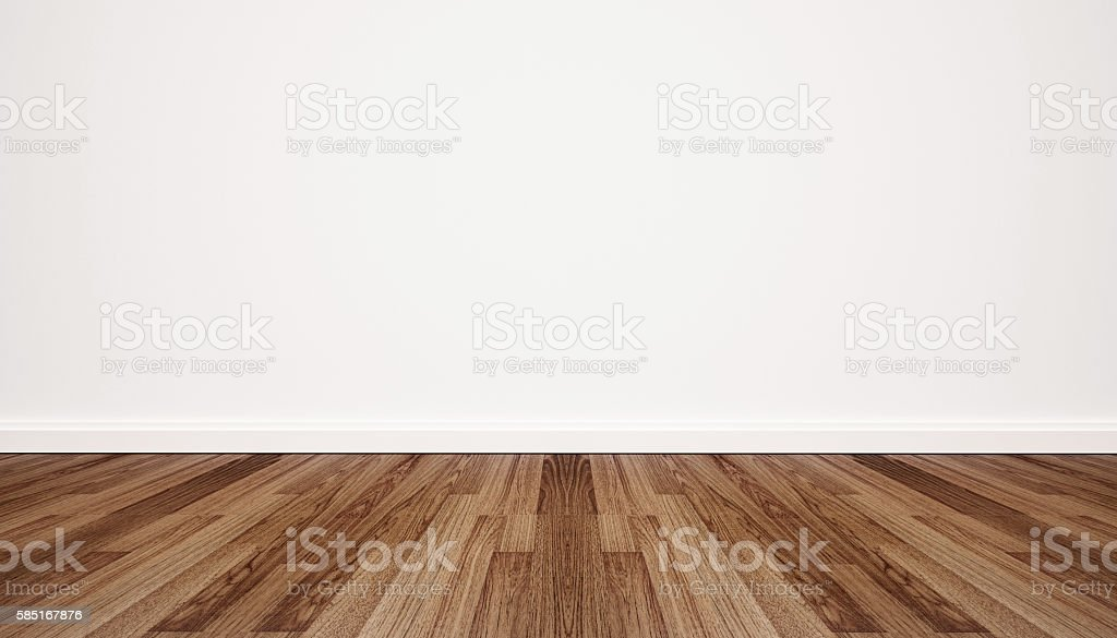 Wood floor with white wall stock photo