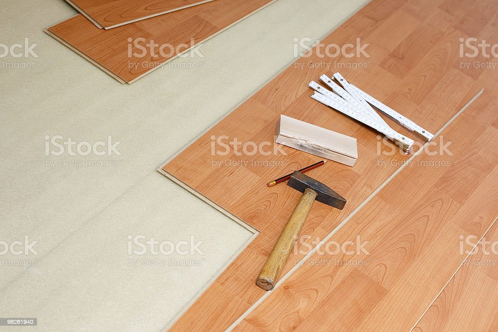 wood flooring and tools royalty-free stock photo