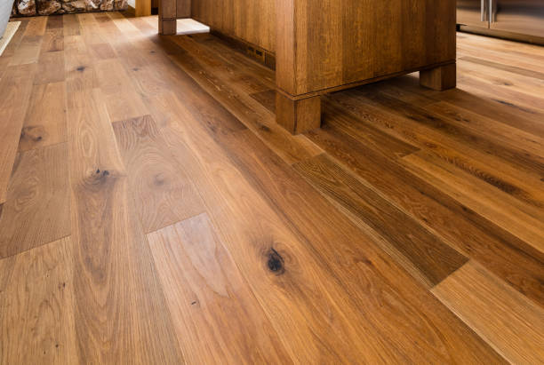Wood flooring in home stock photo