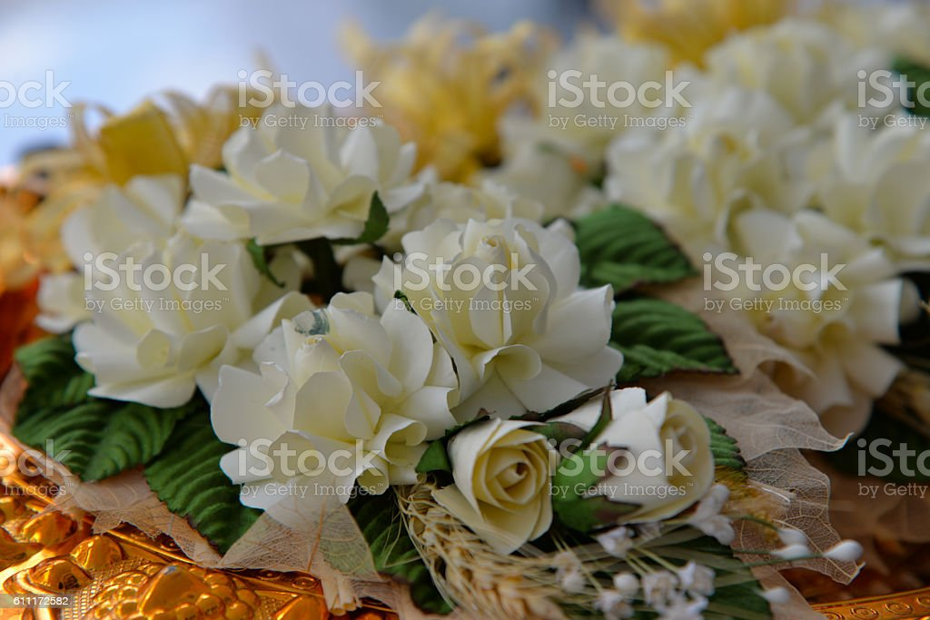 Wood flower to be placed on the site of cremation stock photo