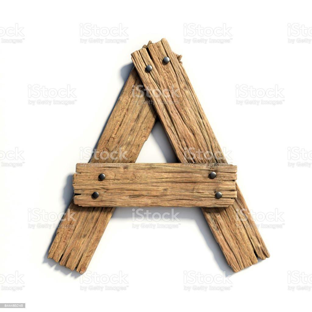 Ahşap yazı tipi, yazı tipi A harfi plank stok fotoğrafı